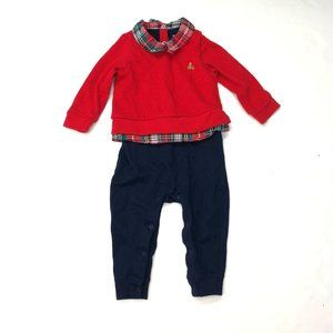 Baby Gap Blue Red Plaid Collar One Piece Outfit